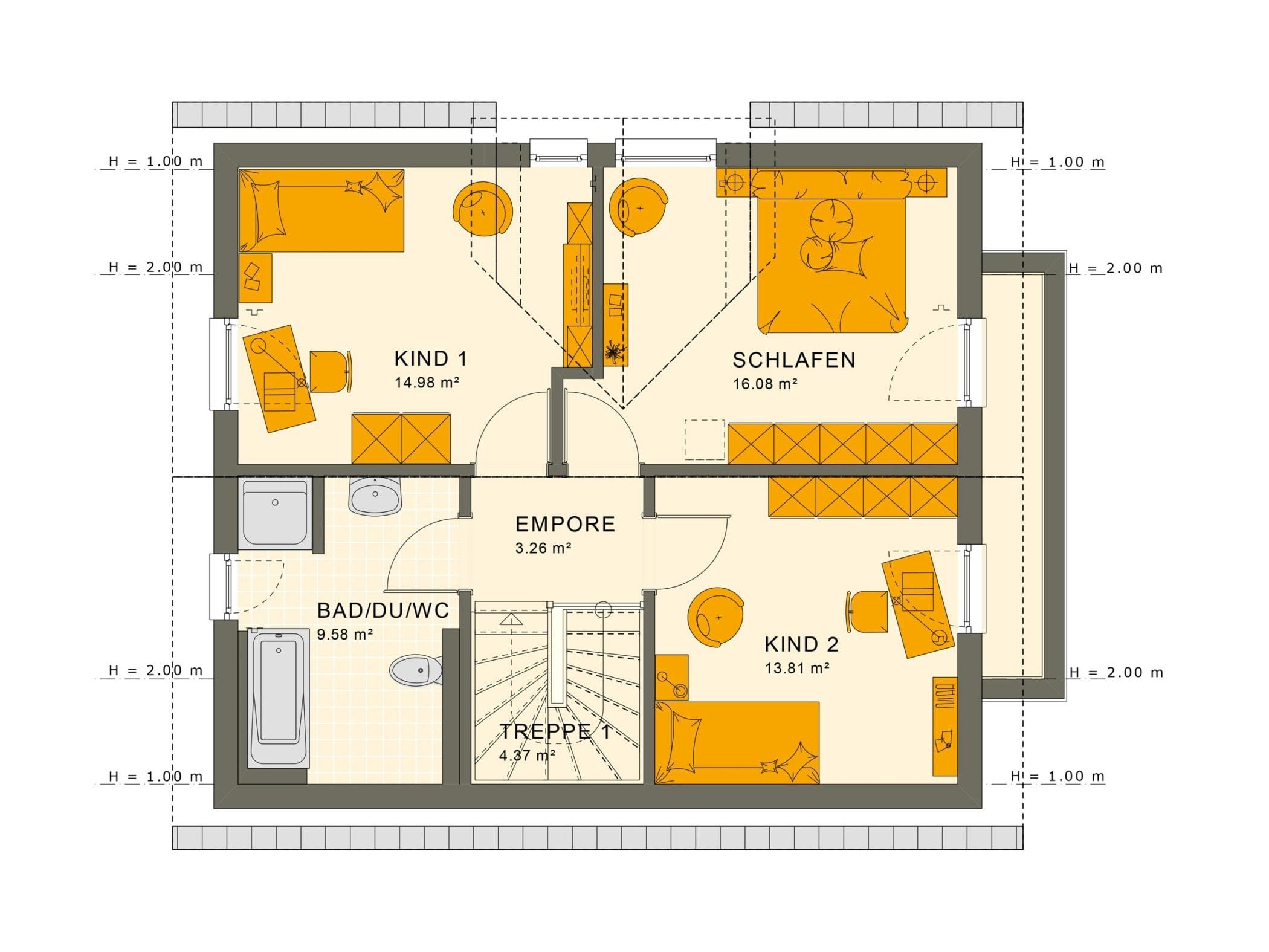 Fertighaus Grundriss Obergeschoss mit Satteldach Architektur & Zwerchgiebel - Haus bauen Ideen Einfamilienhaus SUNSHINE 125 V3 von Living Haus - HausbauDirekt.de