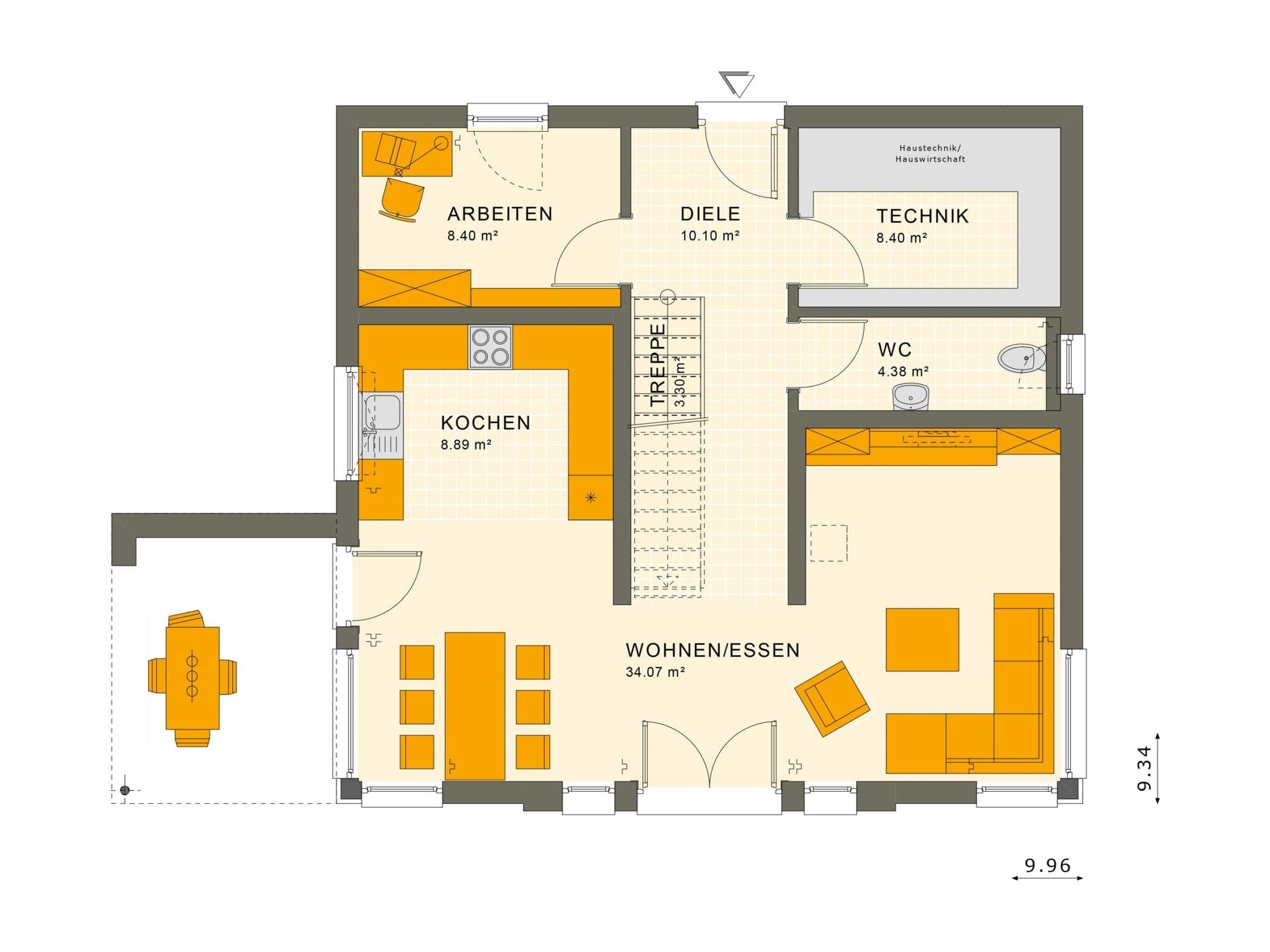 Fertighaus Grundriss Erdgeschoss gerade Treppe mittig - Einfamilienhaus Neubau Living Haus SUNSHINE 154 V2 - HausbauDirekt.de