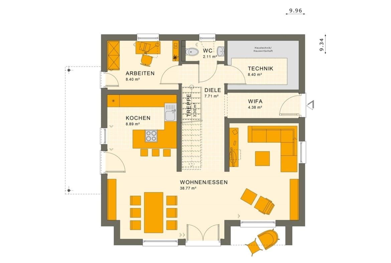 Einfamilienhaus Grundriss Erdgeschoss gerade Treppe mittig, 5 Zimmer, 150 qm - Fertighaus Living Haus SUNSHINE 154 V4 - HausbauDirekt.de