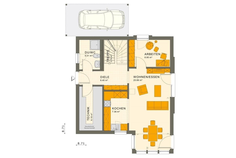 Fertighaus Grundriss Erdgeschoss mit Carport, 5 Zimmer, 125 qm - Einfamilienhaus Living Haus SUNSHINE 126 V4 - HausbauDirekt.de
