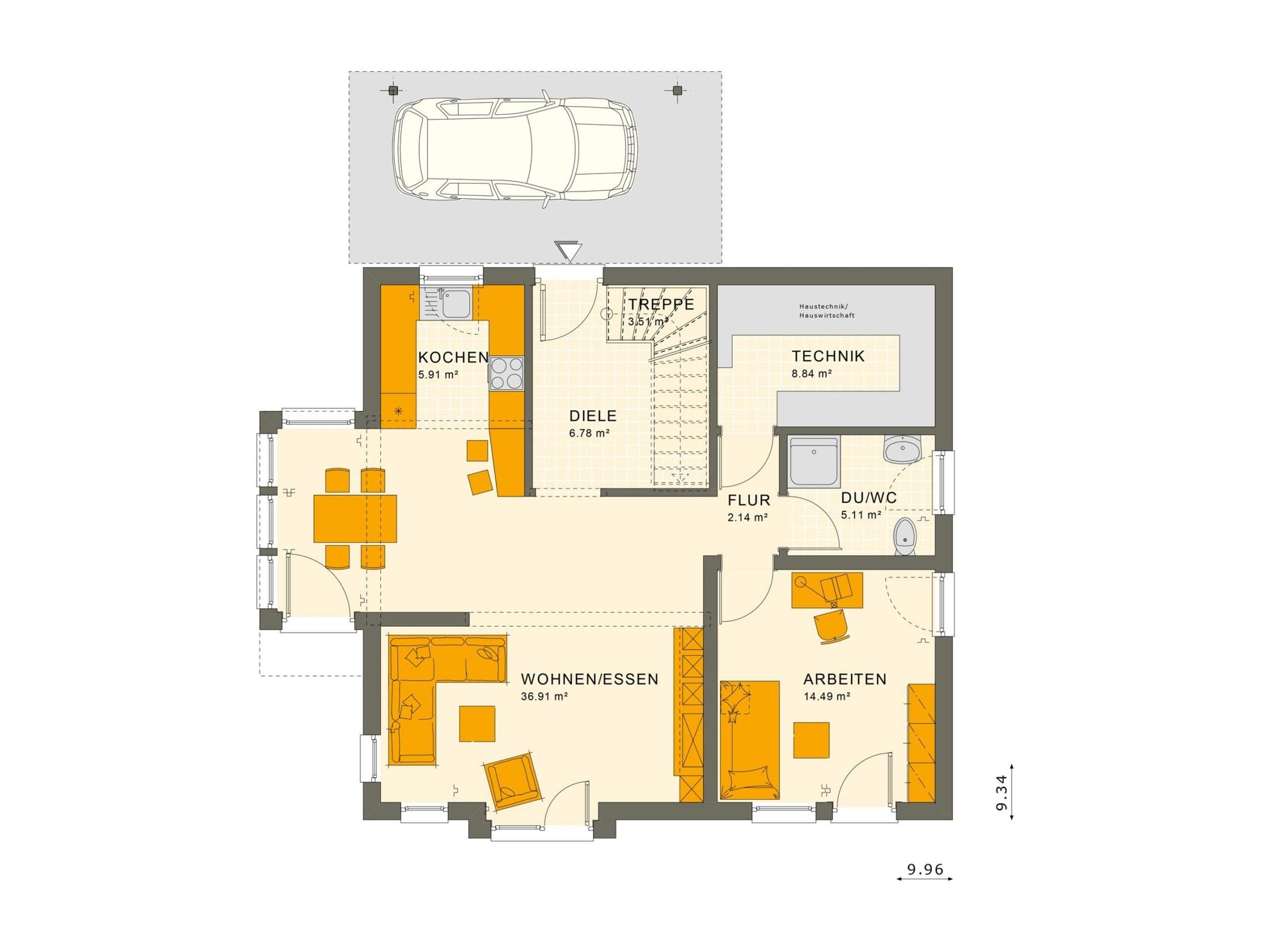 Einfamilienhaus Grundriss Erdgeschoss mit Carport, 5 Zimmer, 150 qm - Fertighaus Living Haus SUNSHINE 151 V5 - HausbauDirekt.de