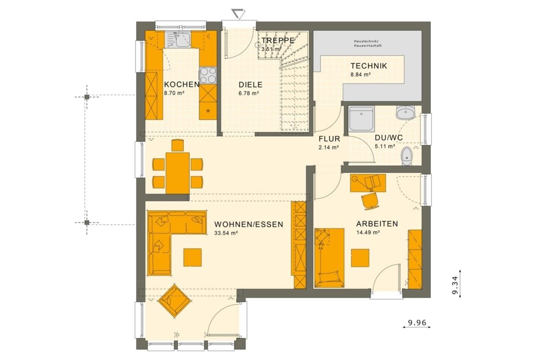Einfamilienhaus Grundriss Erdgeschoss quadratisch mit Wintergarten Erker - Fertighaus Living Haus SUNSHINE 151 V4 - HausbauDirekt.de