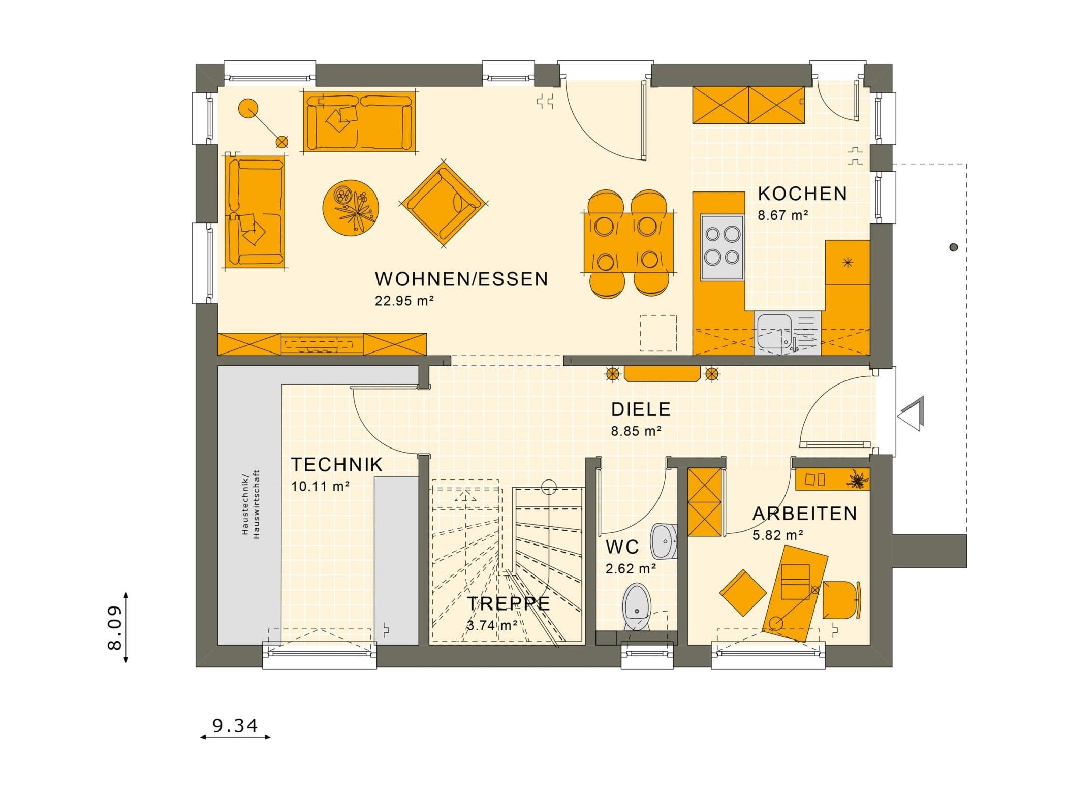 Fertighaus Grundriss Erdgeschoss offen mit Büro - Haus bauen Ideen Einfamilienhaus SUNSHINE 125 V3 von Living Haus - HausbauDirekt.de