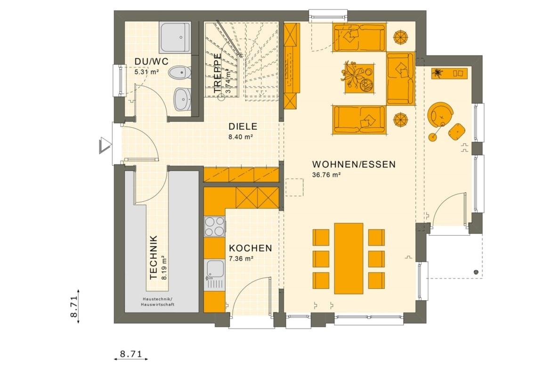 Fertighaus Grundriss Erdgeschoss, 4 Zimmer, 125 qm - Einfamilienhaus Neubau Living Haus SUNSHINE 126 V5 - HausbauDirekt.de