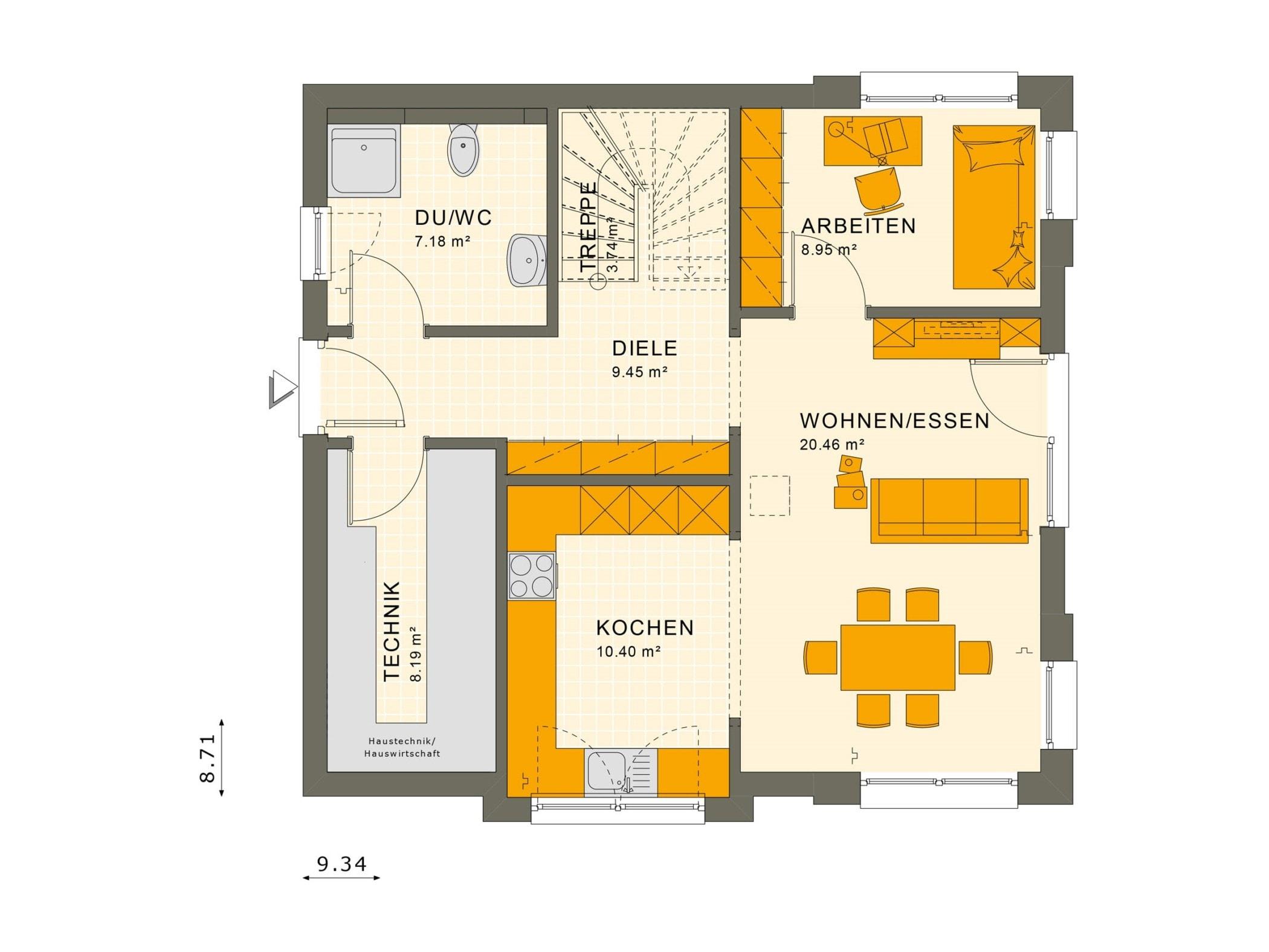 Fertighaus Grundriss Erdgeschoss quadratisch - Einfamilienhaus Living Haus SUNSHINE 136 V4 - HausbauDirekt.de