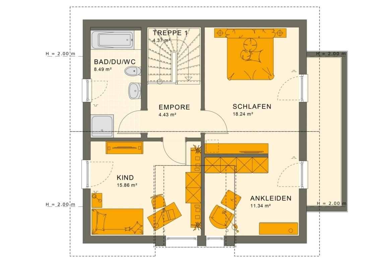 Fertighaus Grundriss Obergeschoss mit Satteldach, 4 Zimmer, 125 qm - Einfamilienhaus Neubau Living Haus SUNSHINE 126 V5 - HausbauDirekt.de