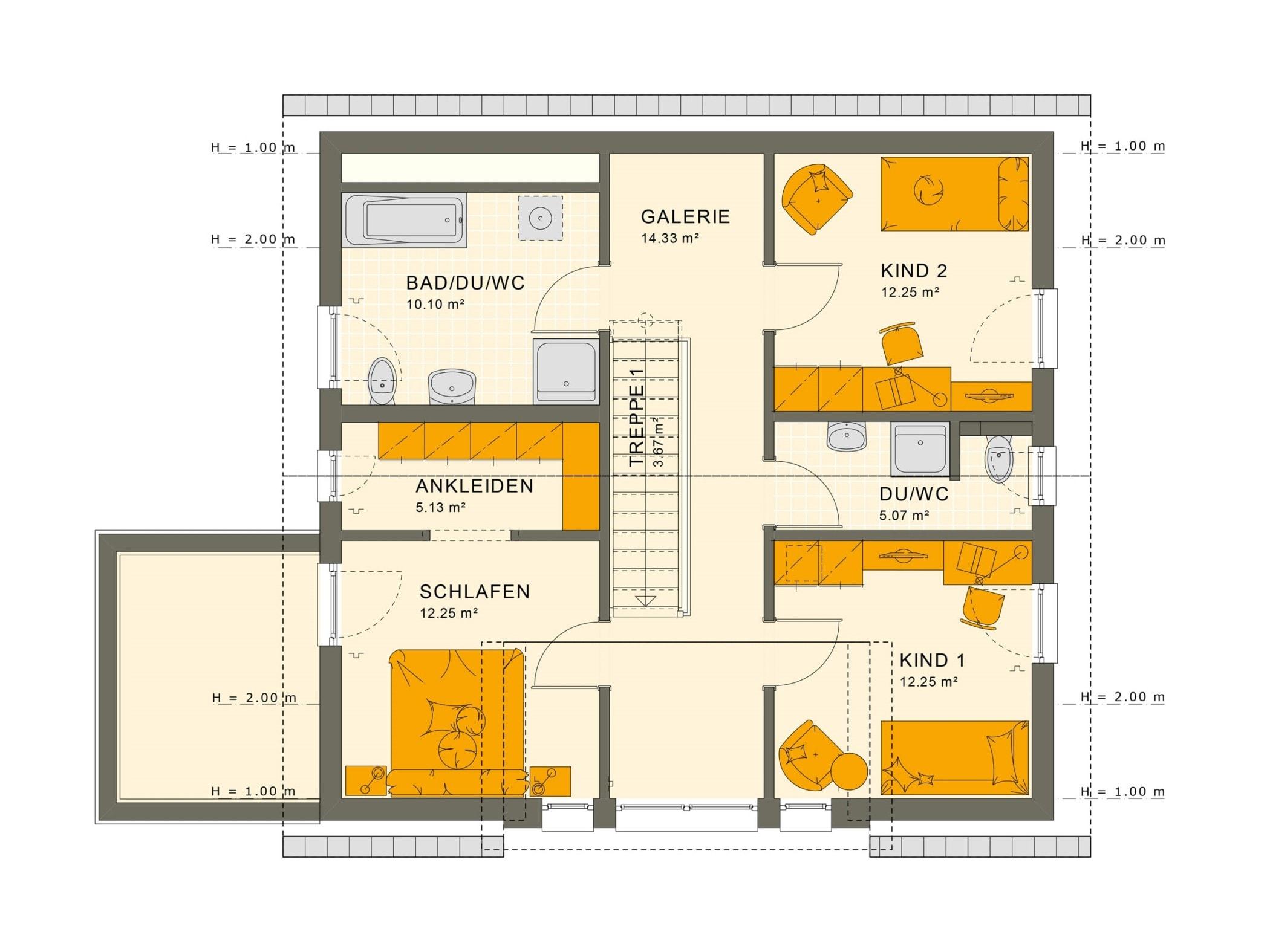 Fertighaus Grundriss Obergeschoss mit Satteldach & Galerie - Einfamilienhaus Neubau Living Haus SUNSHINE 154 V2 - HausbauDirekt.de