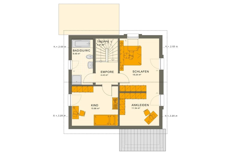 Fertighaus Grundriss Obergeschoss mit Satteldach, 5 Zimmer, 125 qm - Einfamilienhaus Living Haus SUNSHINE 126 V4 - HausbauDirekt.de