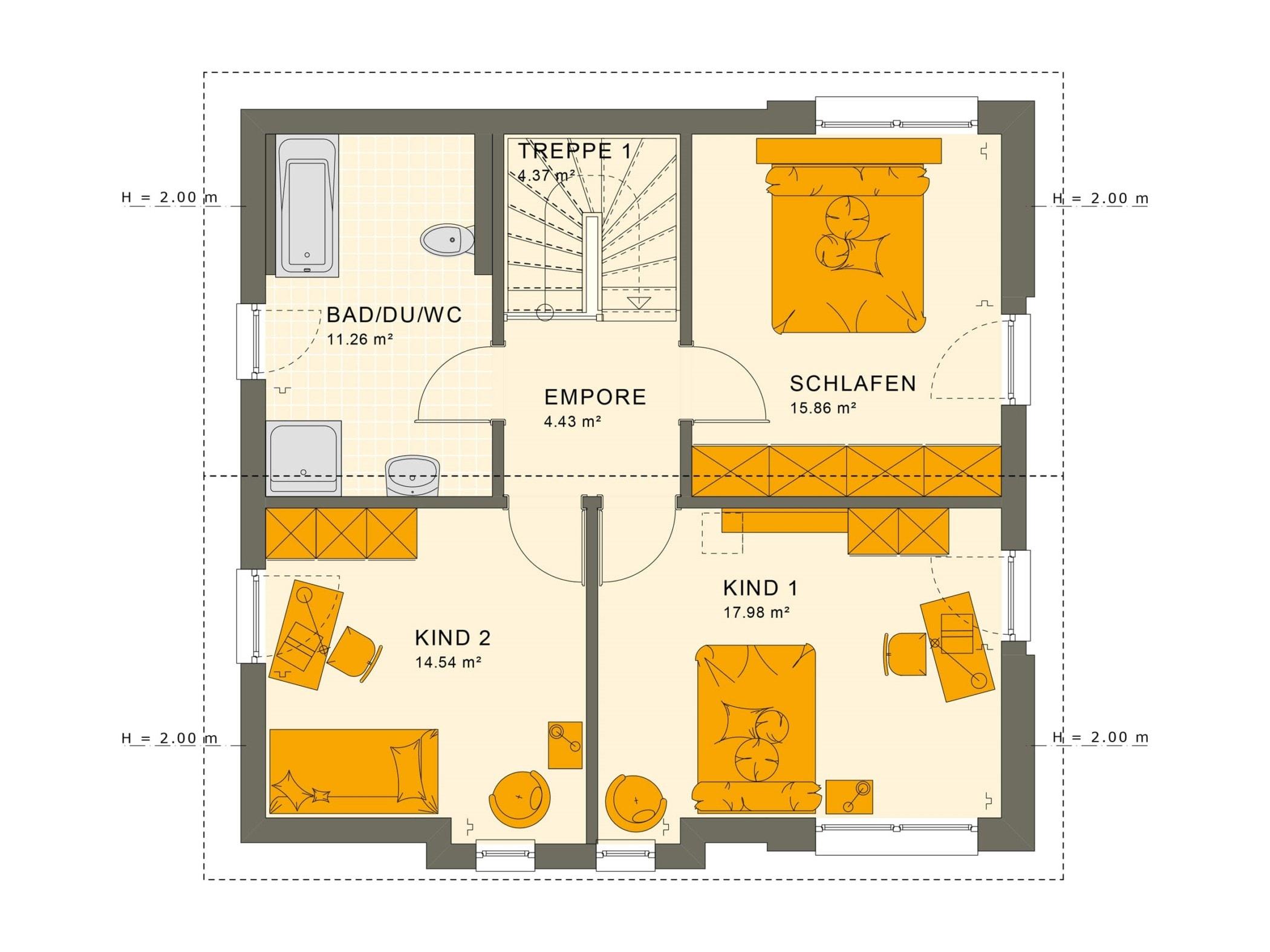 Fertighaus Grundriss Obergeschoss mit Satteldach - Einfamilienhaus Living Haus SUNSHINE 136 V4 - HausbauDirekt.de