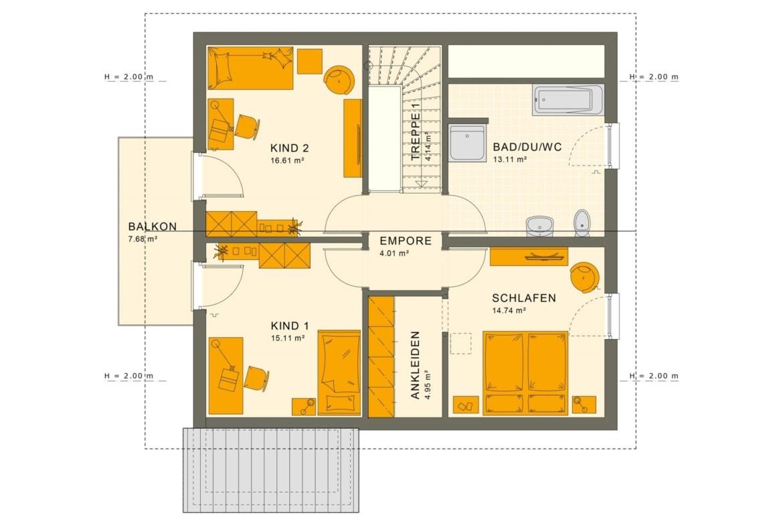 Einfamilienhaus Grundriss Obergeschoss mit Satteldach & Balkon, 5 Zimmer, 150 qm, 3 Kinderzimmer - Fertighaus Living Haus SUNSHINE 151 V4 - HausbauDirekt.de