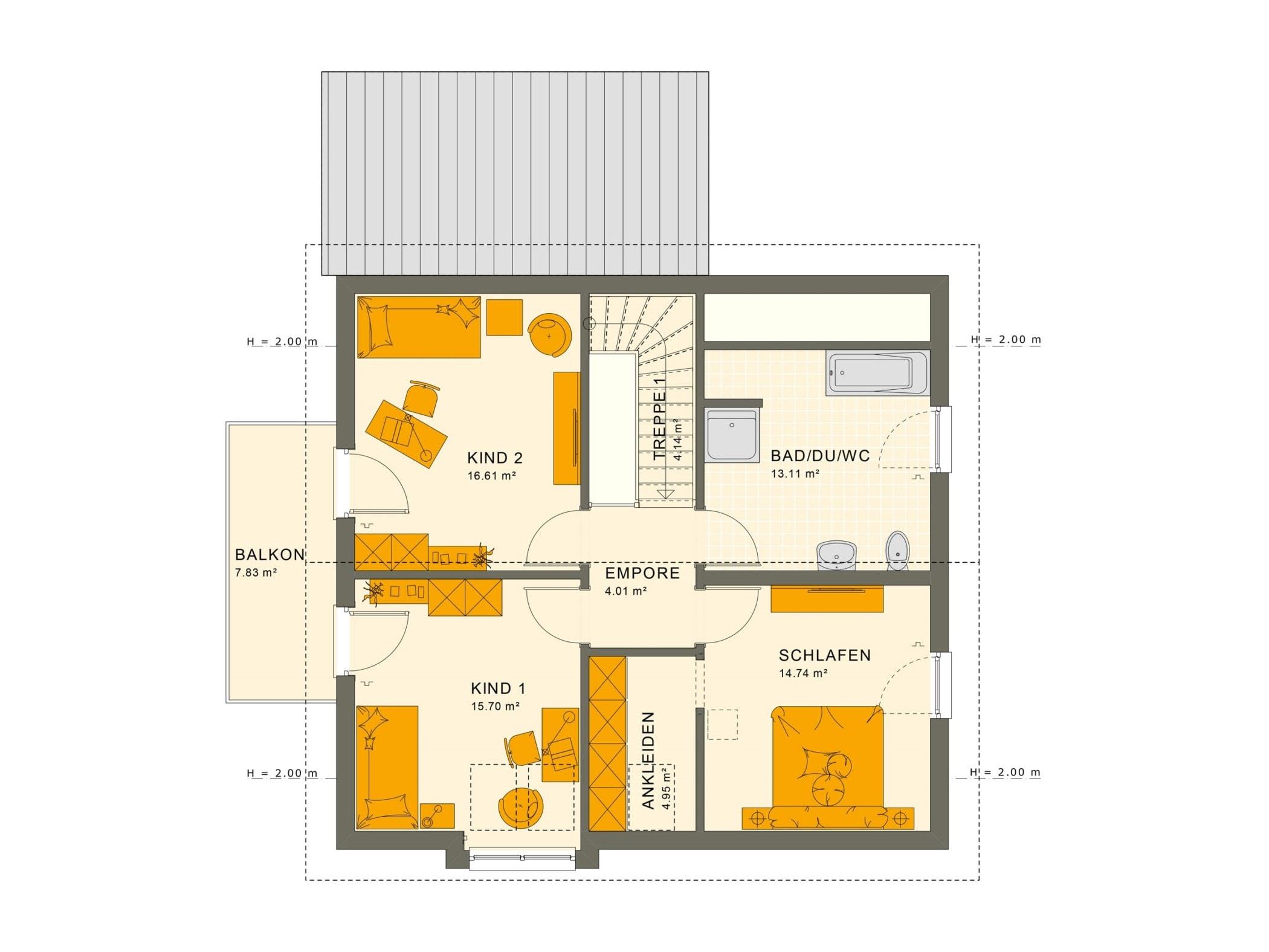 Einfamilienhaus Grundriss Obergeschoss mit Satteldach, 5 Zimmer, 150 qm - Fertighaus Living Haus SUNSHINE 151 V5 - HausbauDirekt.de