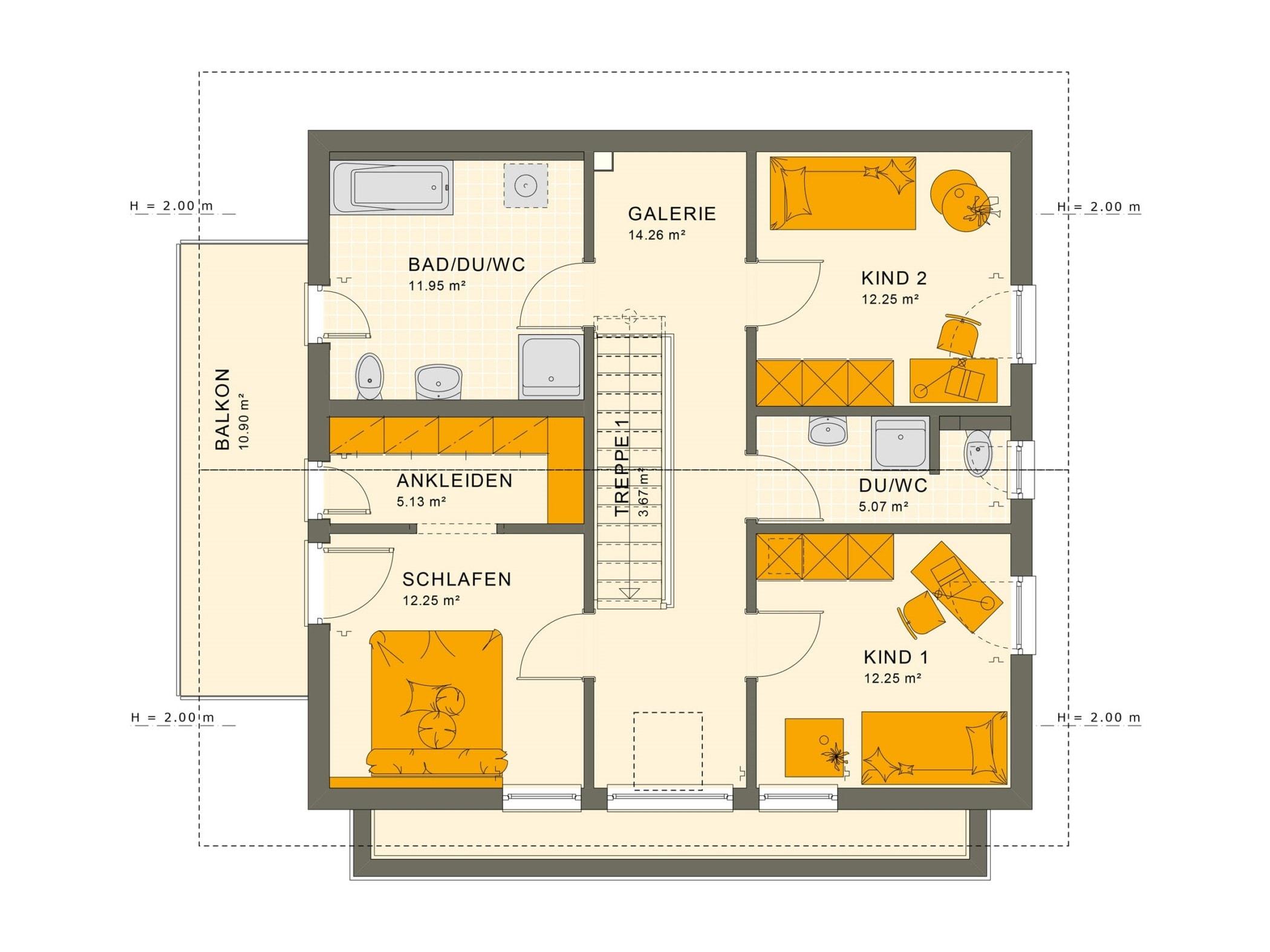 Einfamilienhaus Grundriss Obergeschoss mit Satteldach & gerade Treppe mit Galerie, 5 Zimmer, 150 qm - Fertighaus Living Haus SUNSHINE 154 V4 - HausbauDirekt.de