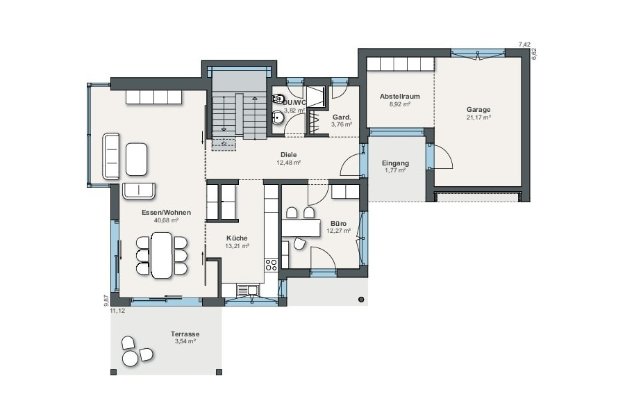 Grundriss Stadtvilla mit Garage, Erdgeschoss - Haus Pläne WeberHaus Fertighaus City Life Haus 250 - HausbauDirekt,de