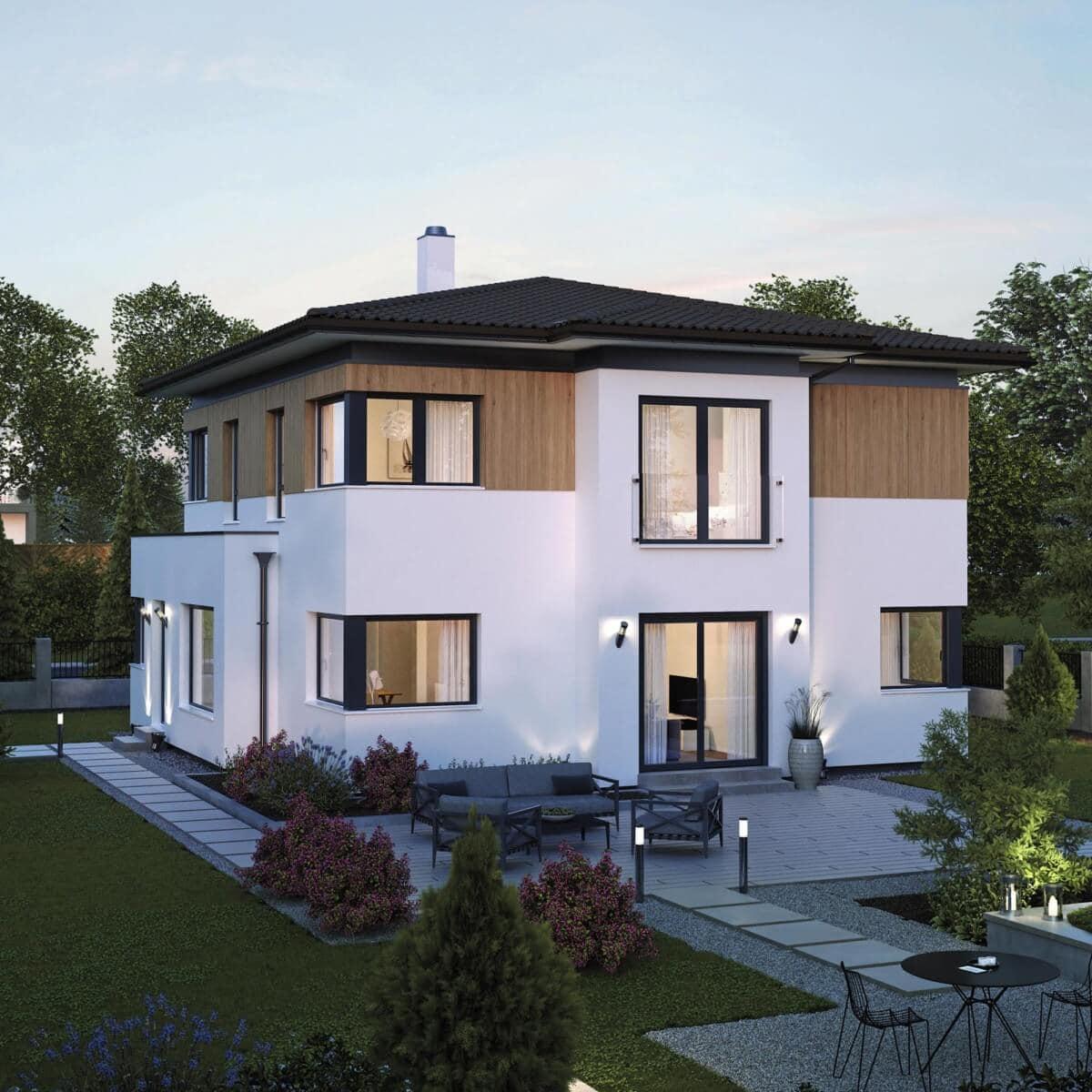 Fertighaus Stadtvilla modern mit Holz Putz Fassade & Walmdach - Einfamilienhaus bauen Ideen ELK Haus 161 - HausbauDirekt.de