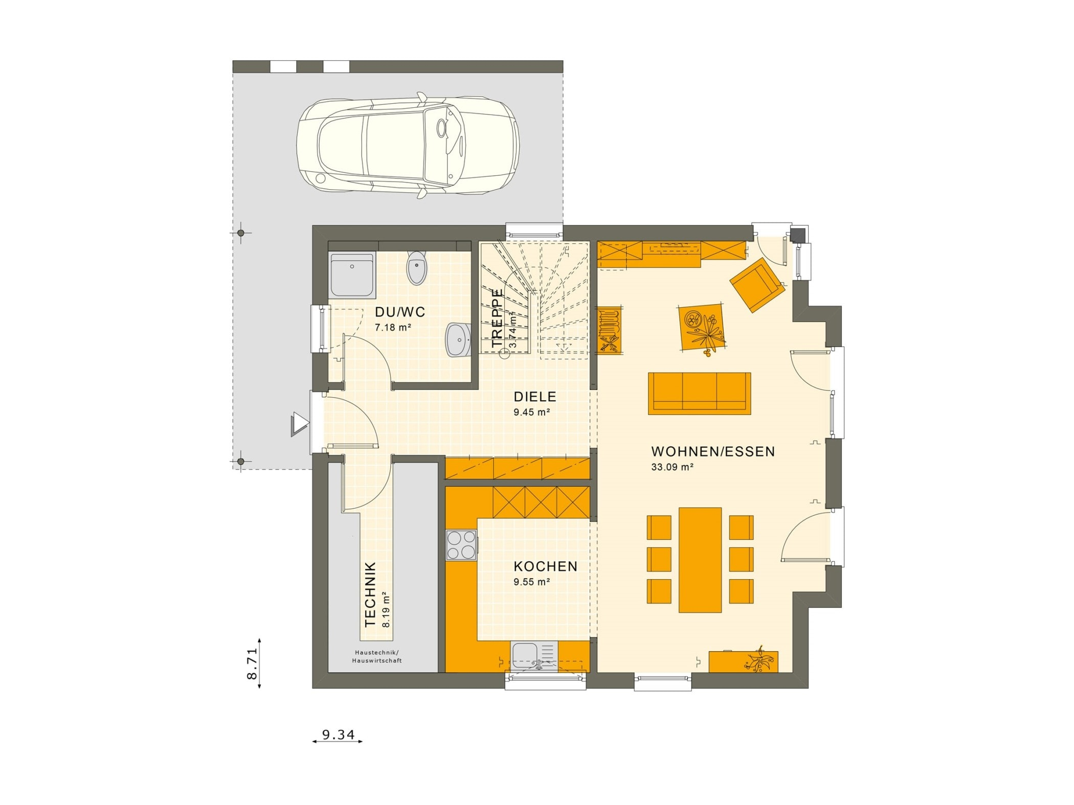 Fertighaus Stadtvilla Grundriss Erdgeschoss mit Carport - Einfamilienhaus Living Haus SUNSHINE 136 V6 - HausbauDirekt.de