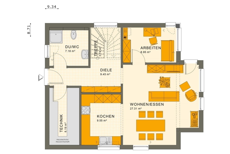 Fertighaus Stadtvilla Grundriss quadratisch mit Erker, 5 Zimmer, 135 qm - Living Haus SUNSHINE 136 V7 - HausbauDirekt.de