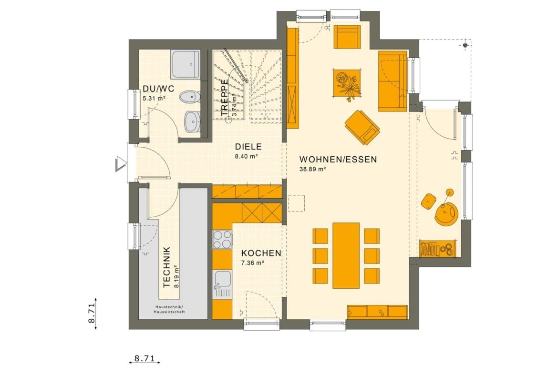 Fertighaus Stadtvilla Grundriss Erdgeschoss, 4 Zimmer, 125 qm - Einfamilienhaus Neubau Living Haus SUNSHINE 126 V8 - HausbauDirekt.de