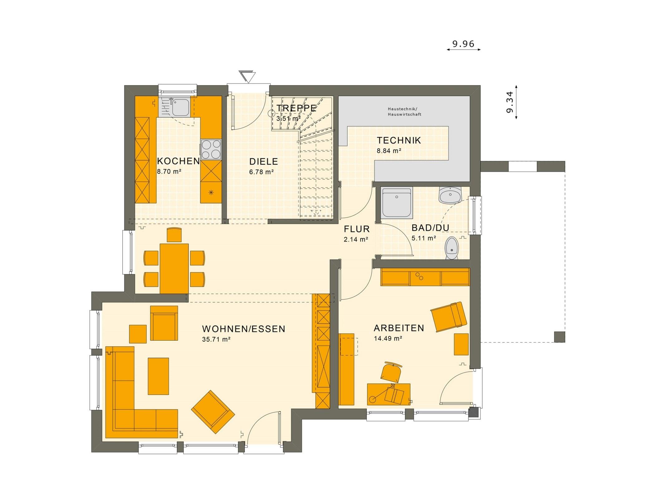 Fertighaus Stadtvilla Grundriss Erdgeschoss mit Erker, 5 Zimmer Grundriss, 150 qm - Living Haus SUNSHINE 151 V7 - HausbauDirekt.de