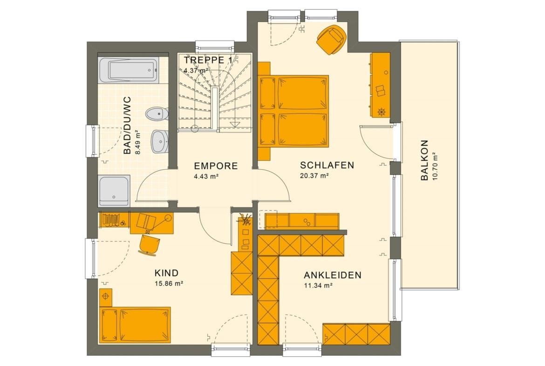 Fertighaus Stadtvilla Grundriss Obergeschoss Flachdach, 4 Zimmer, 125 qm - Einfamilienhaus Neubau Living Haus SUNSHINE 126 V8 - HausbauDirekt.de
