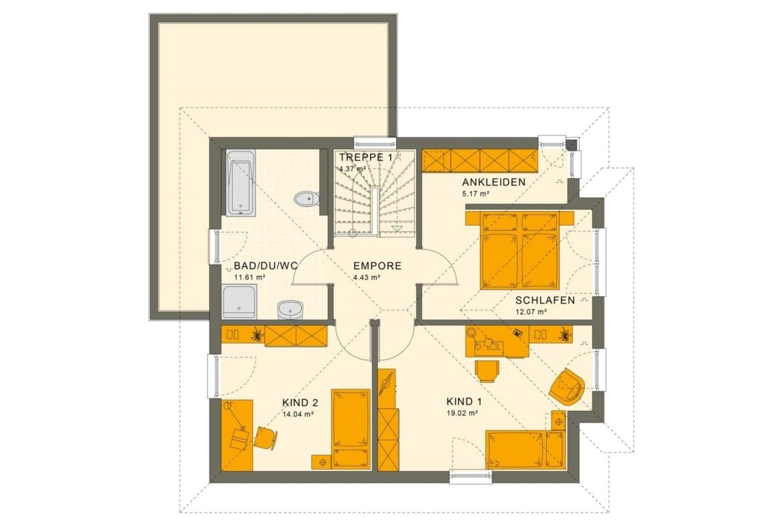 Fertighaus Stadtvilla Grundriss Obergeschoss mit Walmdach - Einfamilienhaus Living Haus SUNSHINE 136 V6 - HausbauDirekt.de