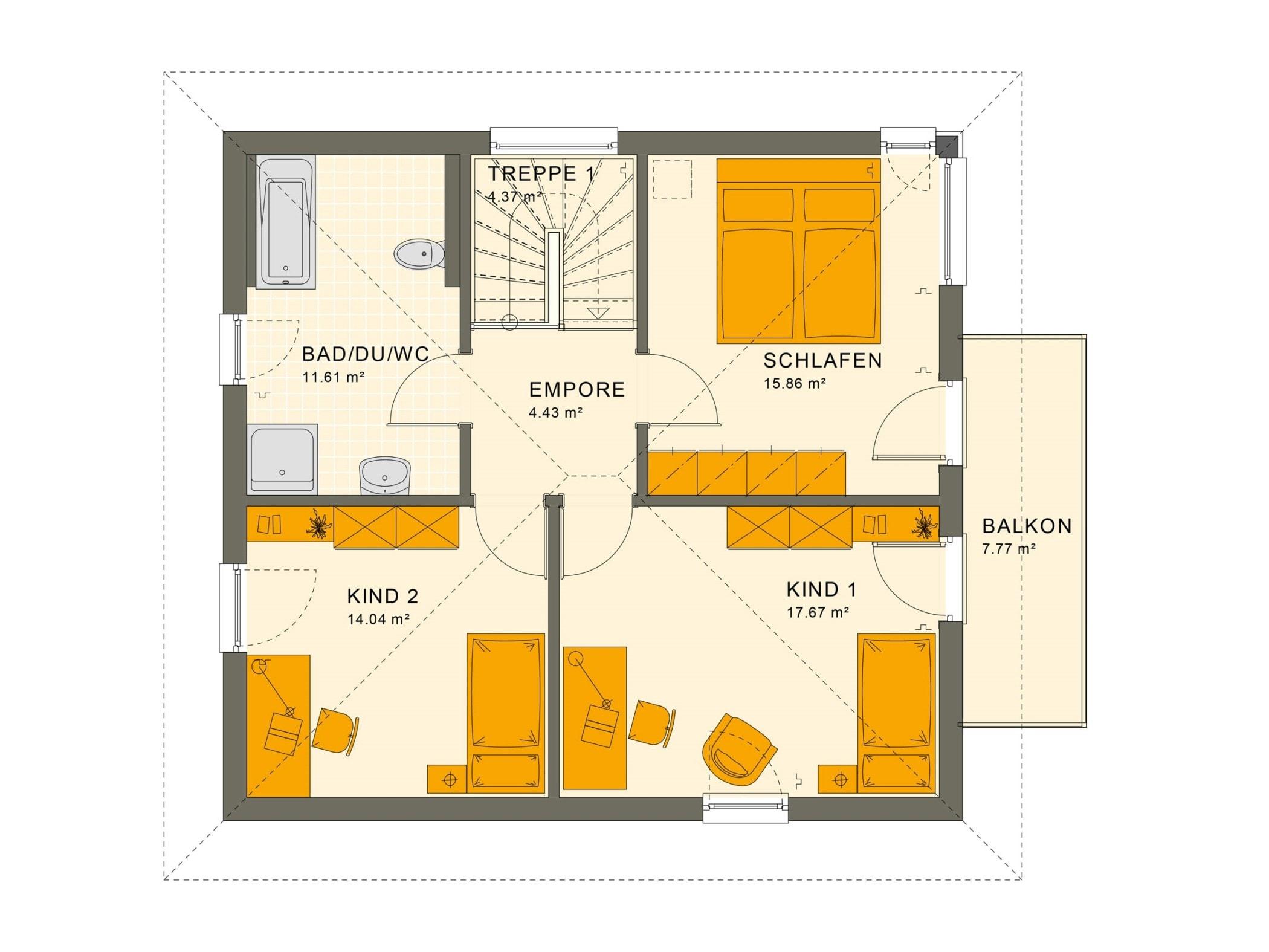 Fertighaus Stadtvilla Grundriss mit Walmdach & Balkon, 5 Zimmer, 135 qm - Living Haus SUNSHINE 136 V7 - HausbauDirekt.de