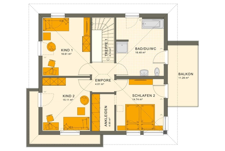 Fertighaus Stadtvilla Grundriss Obergeschoss mit Walmdach & Balkon, 5 Zimmer Grundriss, 150 qm - Living Haus SUNSHINE 151 V7 - HausbauDirekt.de