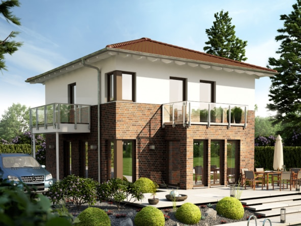 Fertighaus Stadtvilla mit Klinker Putz Fassade & Walmdach - Einfamilienhaus Neubau Living Haus SUNSHINE 126 V6 - HausbauDirekt.de