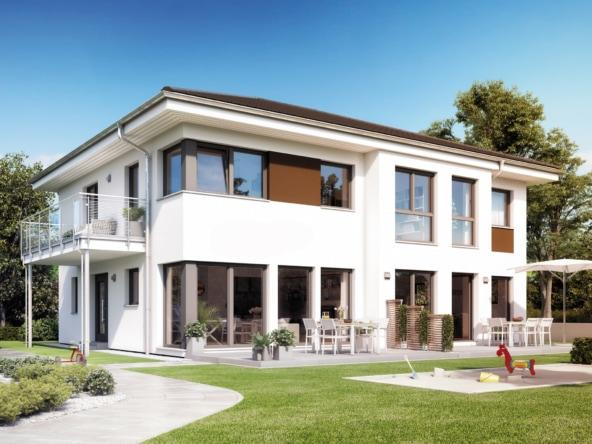 Fertighaus Stadtvilla mit Einliegerwohnung & Walmdach Architektur - Haus bauen Ideen Einfamilienhaus SOLUTION 230 V6 von Living Haus - HausbauDirekt.de