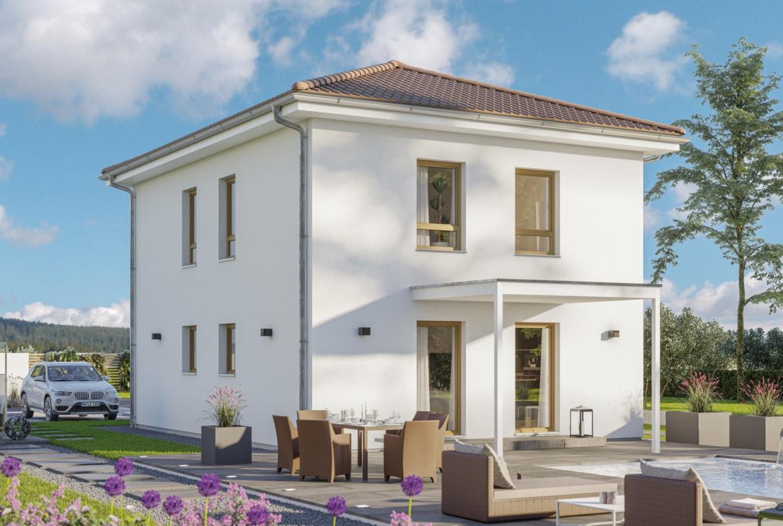 Fertighaus Stadtvilla mit Walmdach & Terrassenüberdachung, 4 Zimmer, 120 qm - Einfamilienhaus bauen Ideen Bien Zenker Haus EDITION 120 V5 - HausbauDirekt.de