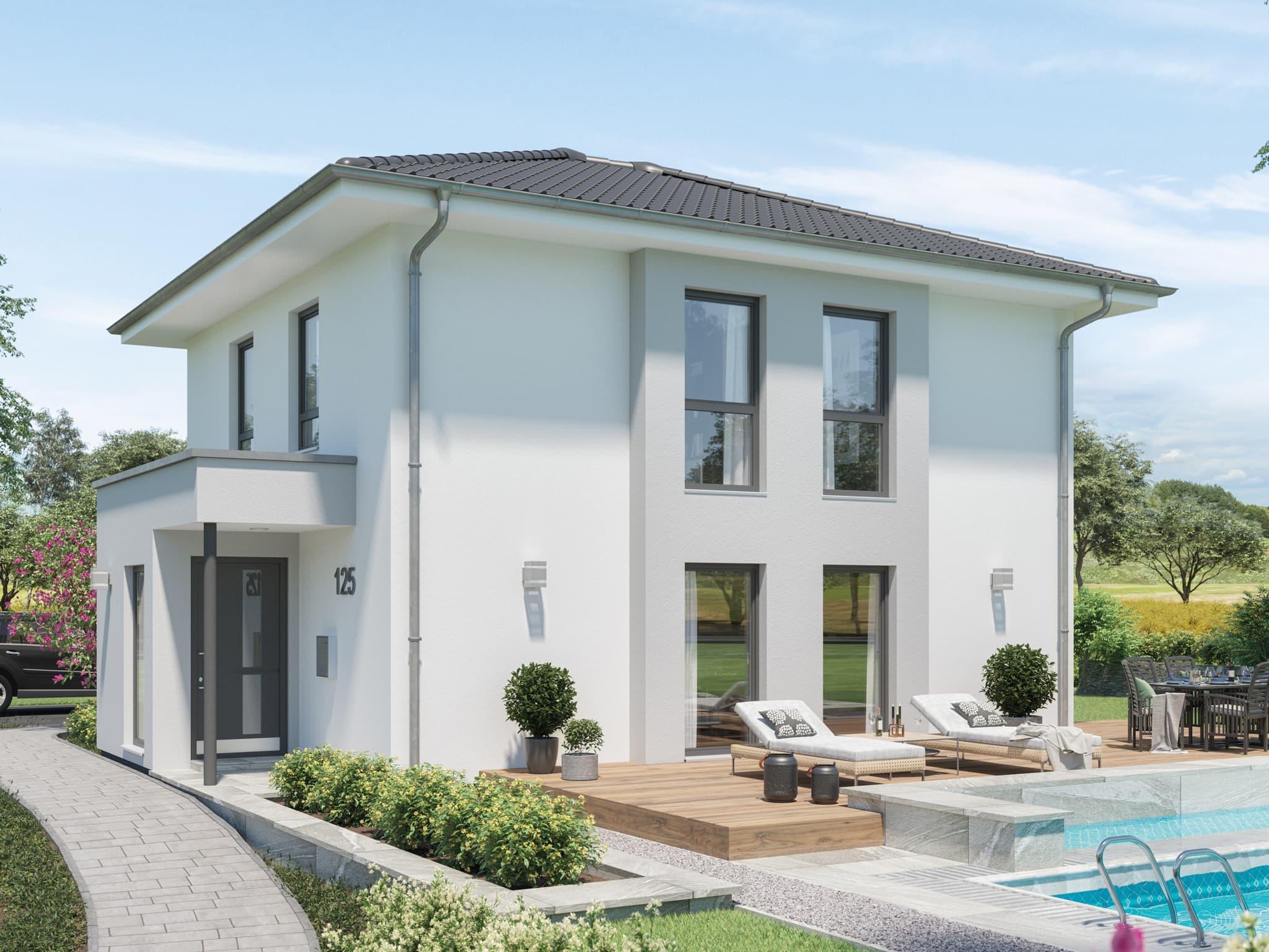Fertighaus Stadtvilla mit Walmdach & Windfang Erker, 4 Zimmer Grundriss, 125 qm - Einfamilienhaus bauen Ideen Bien Zenker Haus EDITION 125 V5 - HausbauDirekt.de