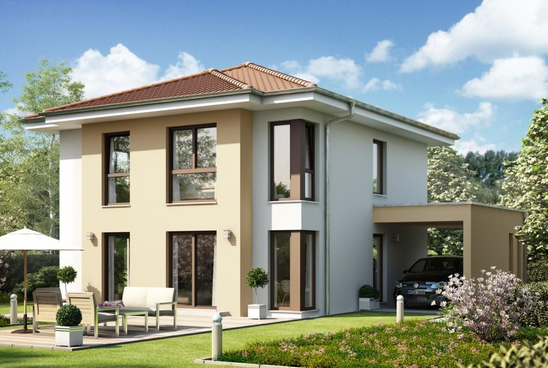Fertighaus Stadtvilla mit Walmdach & Carport, 4 Zimmer, 135 qm - Living Haus SUNSHINE 136 V6 - HausbauDirekt.de