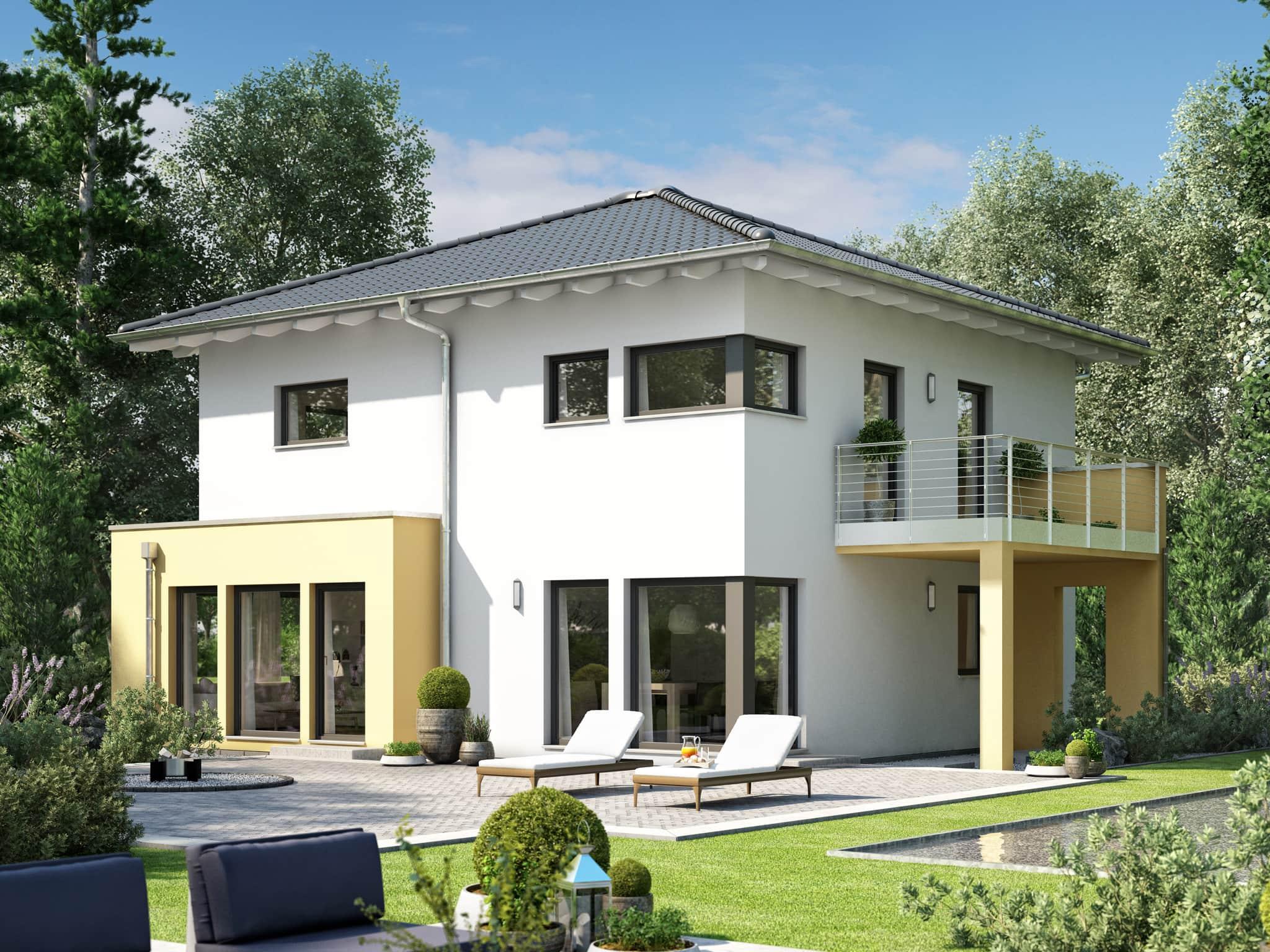 Fertighaus Stadtvilla mit Walmdach, Erker & Balkon, 5 Zimmer Grundriss, 150 qm - Living Haus SUNSHINE 151 V7 - HausbauDirekt.de