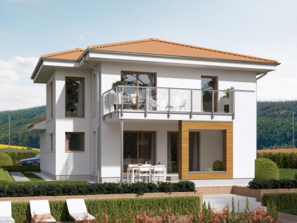 Fertighaus Stadtvilla modern mit Walmdach, Erker Anbau & Loggia mit Balkon - Haus bauen Ideen Einfamilienhaus EVOLUTION 124 V8 von Bien Zenker - HausbauDirekt.de
