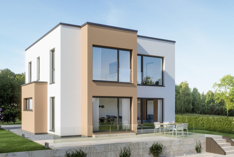 Fertighaus Stadtvilla modern mit Flachdach Architektur im Bauhausstil & Erker Anbau - Haus bauen Ideen Einfamilienhaus EVOLUTION 124 V9 von Bien Zenker - HausbauDirekt.de