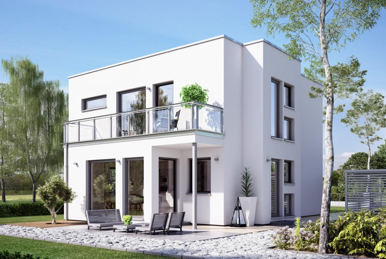 Fertighaus Stadtvilla modern mit Flachdach im Bauhausstil, 4 Zimmer, 125 qm - Einfamilienhaus Neubau Living Haus SUNSHINE 126 V8 - HausbauDirekt.de