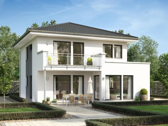 Fertighaus Stadtvilla modern mit Walmdach, 4 Zimmer, 125 qm -Einfamilienhaus Neubau Living Haus SUNSHINE 126 V7 - HausbauDirekt.de