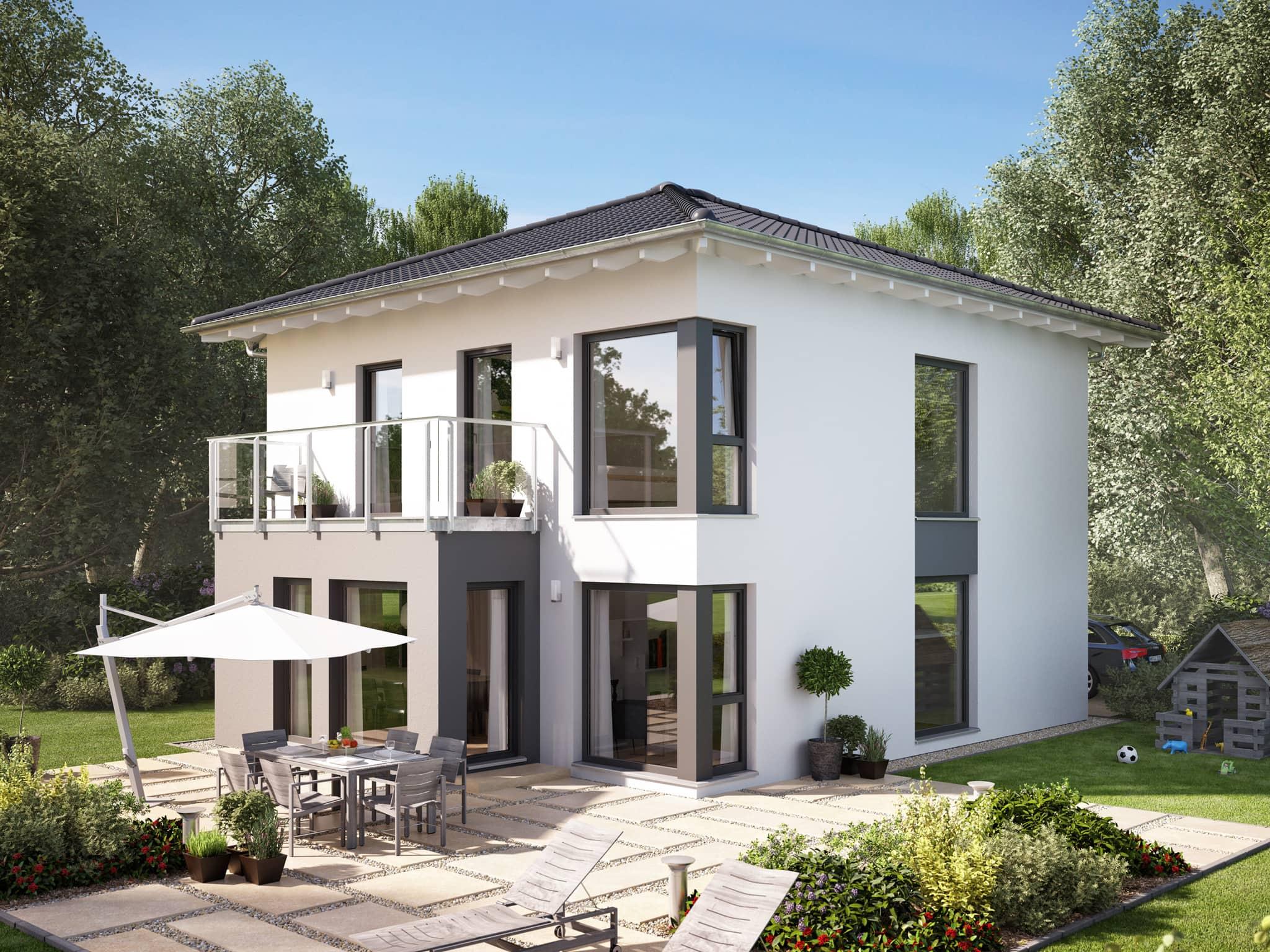 Fertighaus Stadtvilla modern mit Walmdach, Erker & Balkon, 5 Zimmer, 135 qm - Living Haus SUNSHINE 136 V7 - HausbauDirekt.de