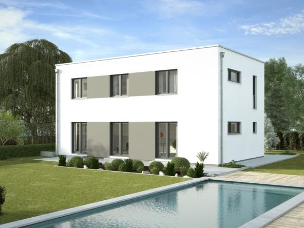 Fertighaus Stadtvilla modern mit Flachdach Architektur im Bauhausstil - Einfamilienhaus bauen Ideen Stadthaus Santa Monica von GUSSEK HAUS - HausbauDirekt.de
