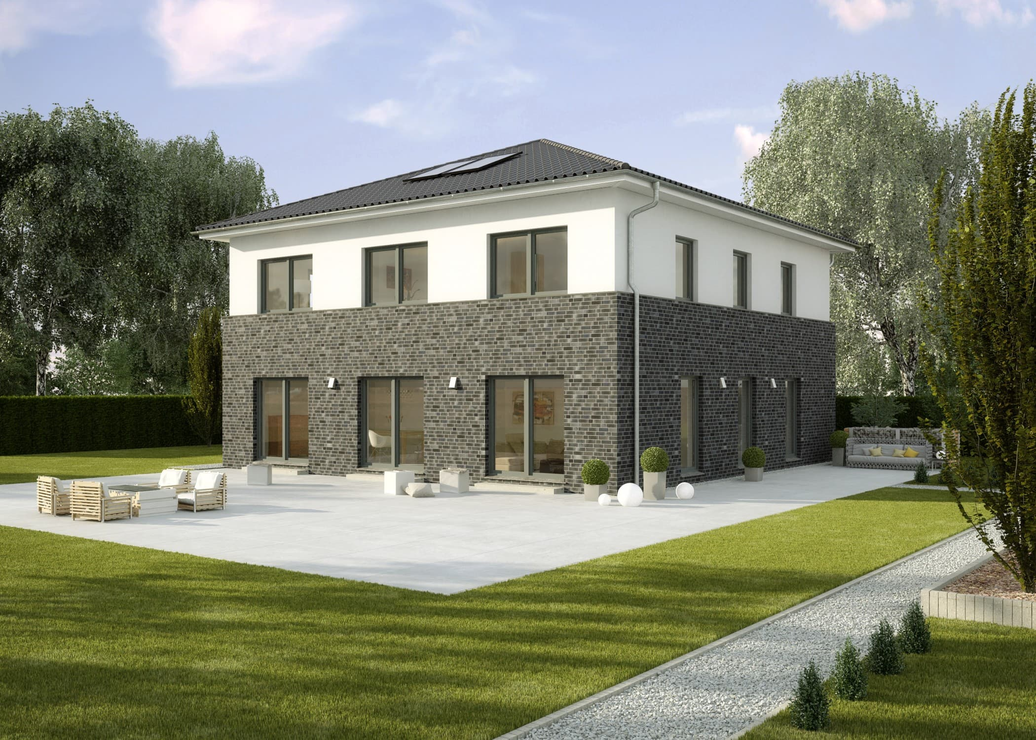 Fertighaus Stadtvilla modern mit Klinker Putz Fassade, Galerie & Zeltdach Architektur, 200 qm, 6 Zimmer - Einfamilienhaus La Finca von GUSSEK HAUS - HausbauDirekt.de