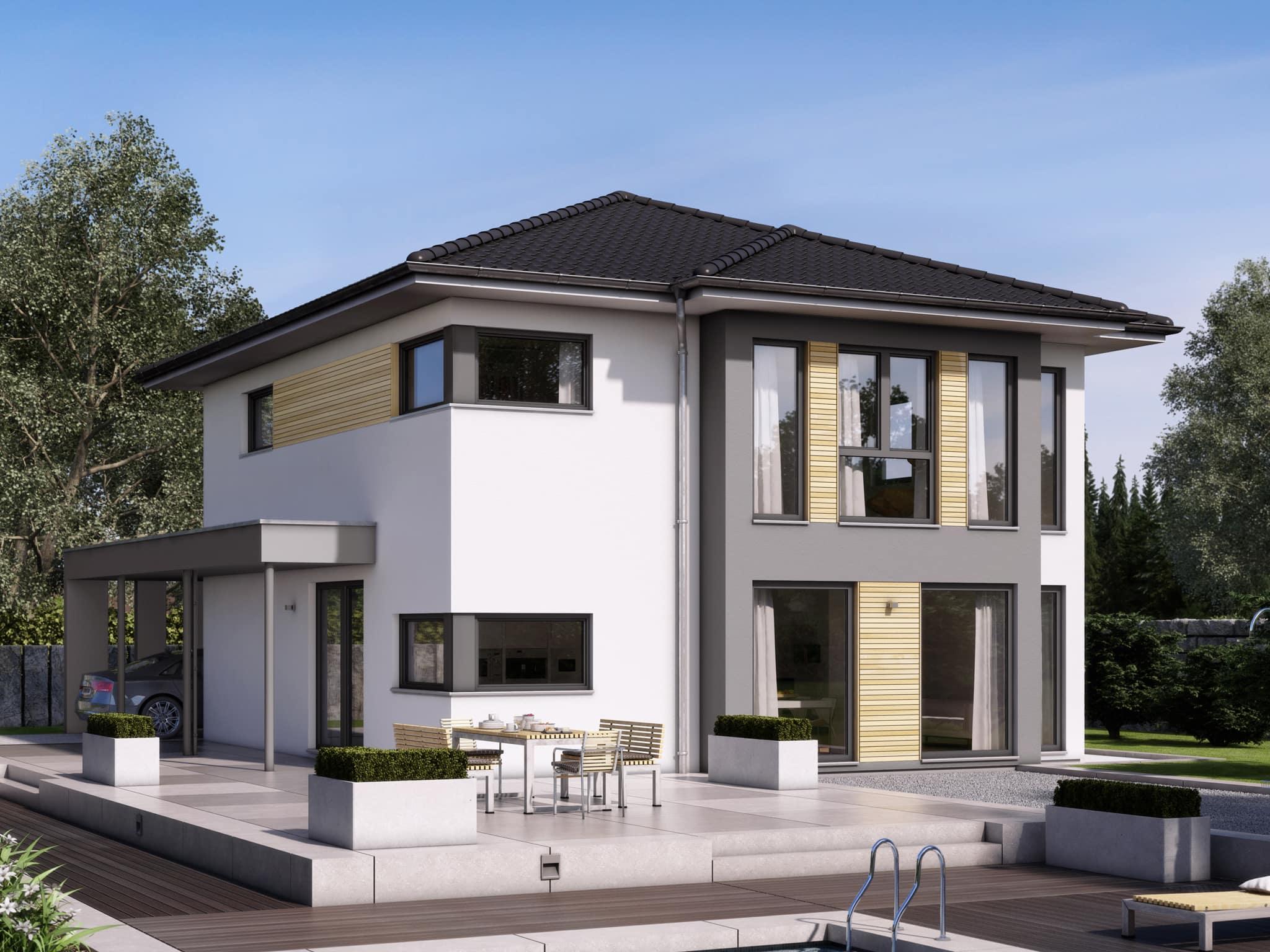 Fertighaus Stadtvilla modern mit Walmdach & Holz Putz Fassade, 5 Zimmer Grundriss, 150 qm - Living Haus SUNSHINE 151 V6 - HausbauDirekt.de