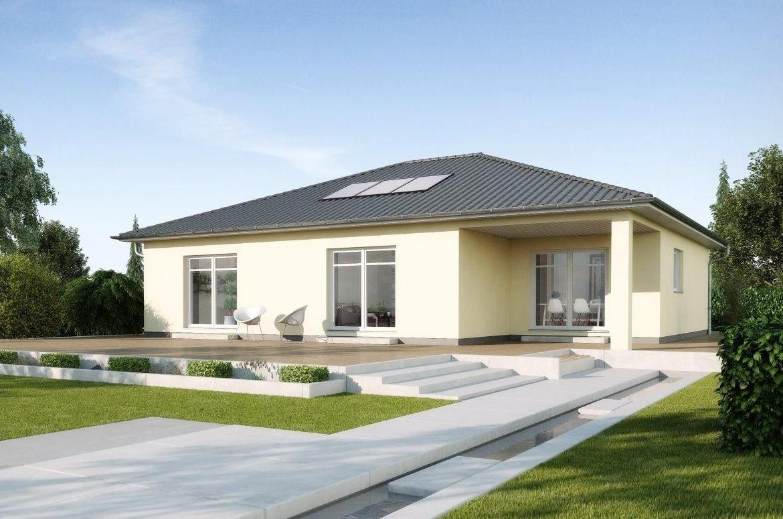 Fertighaus Winkelbungalow mit Walmdach Architektur, 120 qm, 3 Zimmer Grundriss - GUSSEK HAUS Bungalow Savoyen - HausbauDirekt.de