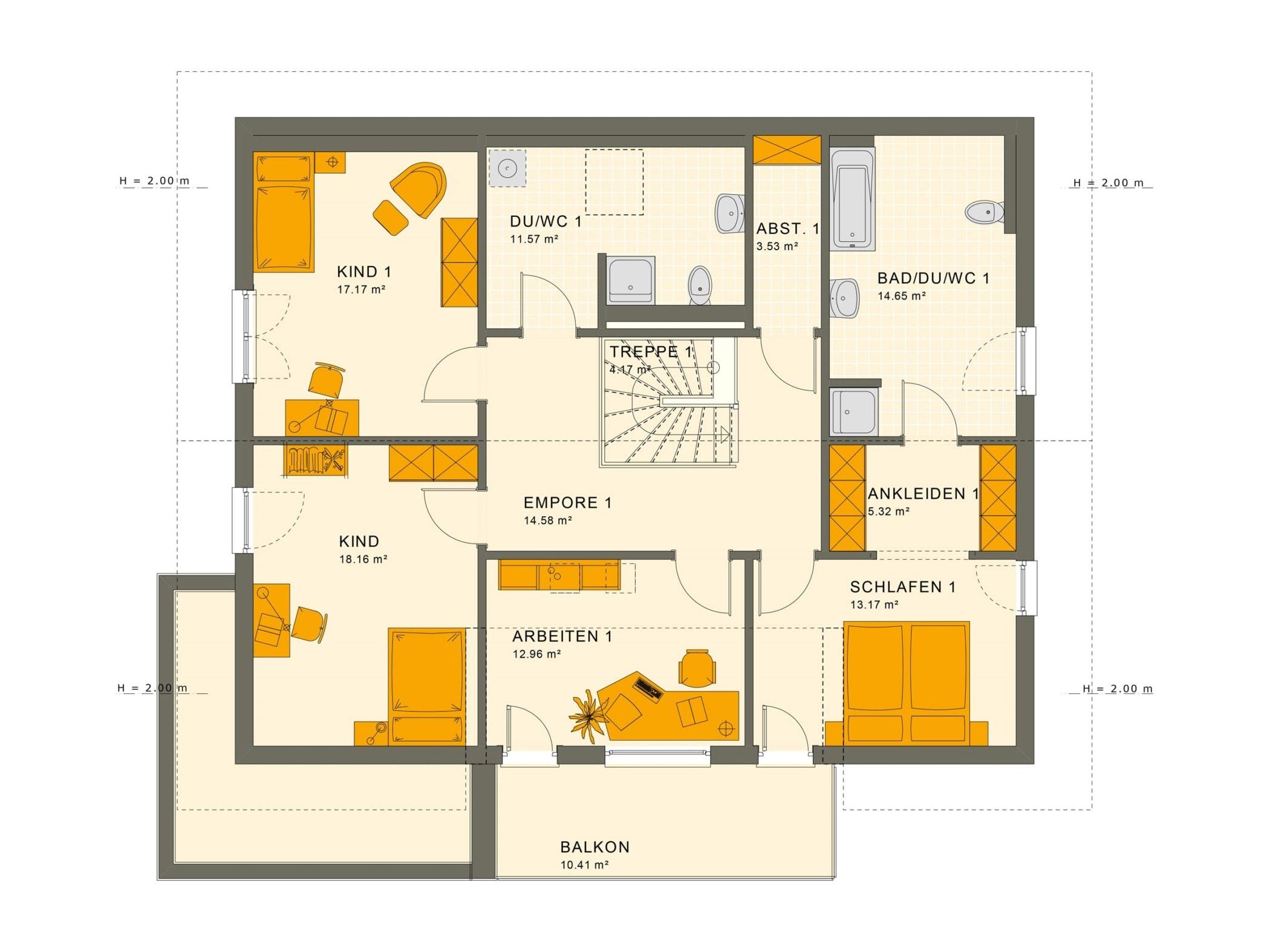 Fertighaus mit Einliegerwohnung Grundriss Dachgeschoss - Haus bauen Ideen Einfamilienhaus SOLUTION 230 V5 von Living Haus - HausbauDirekt.de