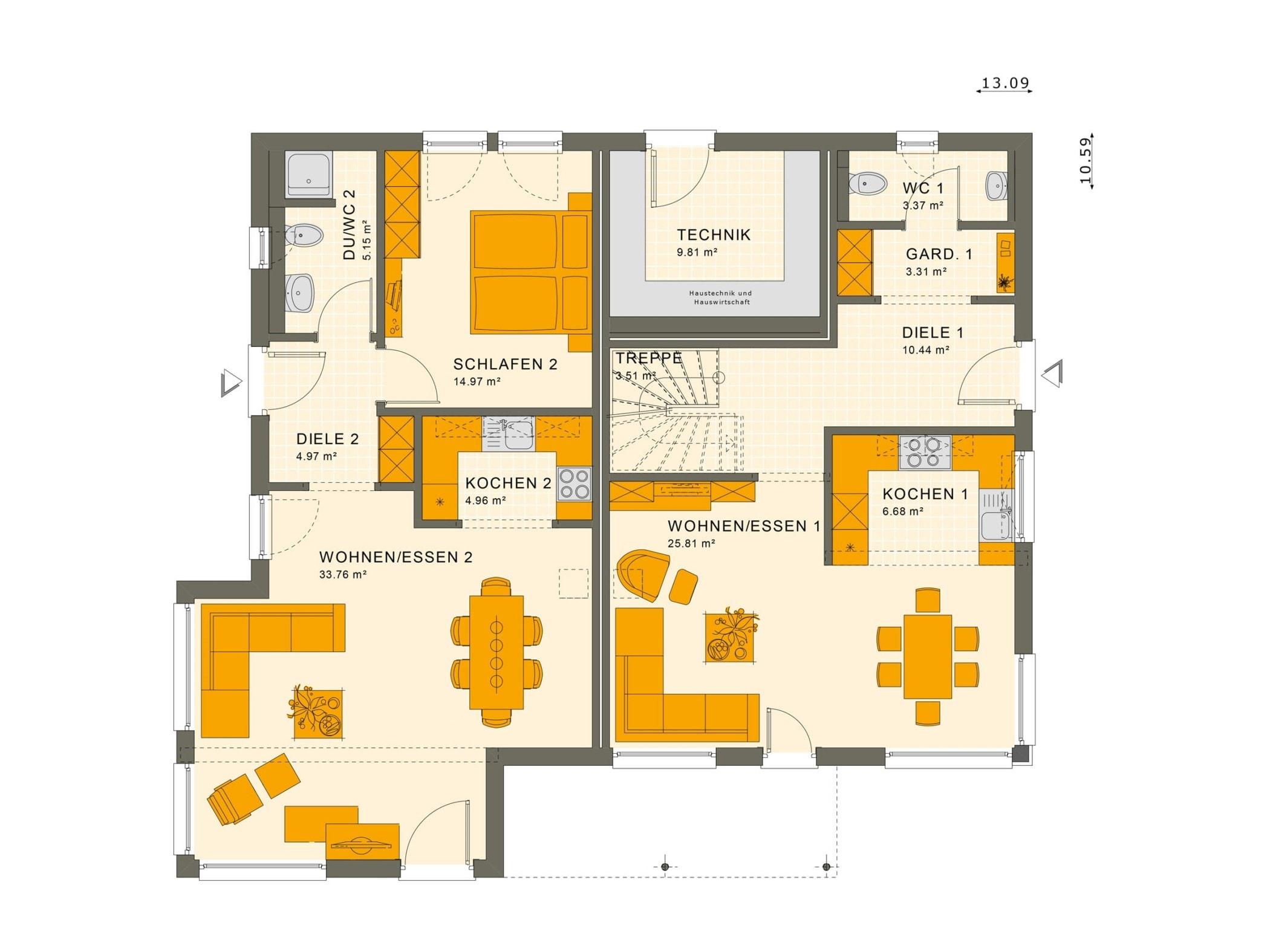 Fertighaus mit Einliegerwohnung Grundriss Erdgeschoss - Haus bauen Ideen Einfamilienhaus SOLUTION 230 V5 von Living Haus - HausbauDirekt.de