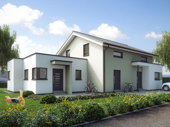 Einfamilienhaus mit Einliegerwohnung im Anbau & Satteldach Architektur - Fertighaus schlüsselfertig bauen Ideen Living Haus SOLUTION 183 V5 - HausbauDirekt.de