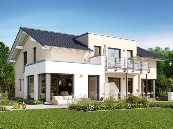 Modernes Fertighaus mit Einliegerwohnung, Satteldach Architektur, Erker & Balkon - Haus bauen Ideen Einfamilienhaus SOLUTION 230 V5 von Living Haus - HausbauDirekt.de
