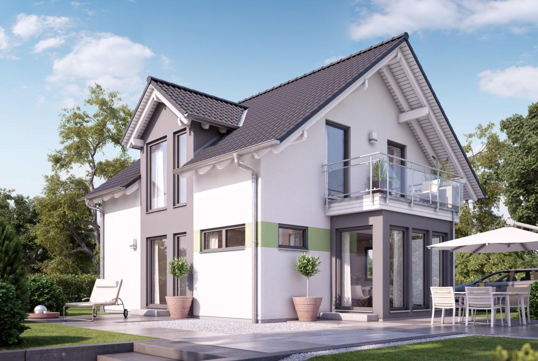 Fertighaus mit Satteldach Architektur, 5 Zimmer, 125 qm - Einfamilienhaus Living Haus SUNSHINE 126 V2 a - HausbauDirekt.de