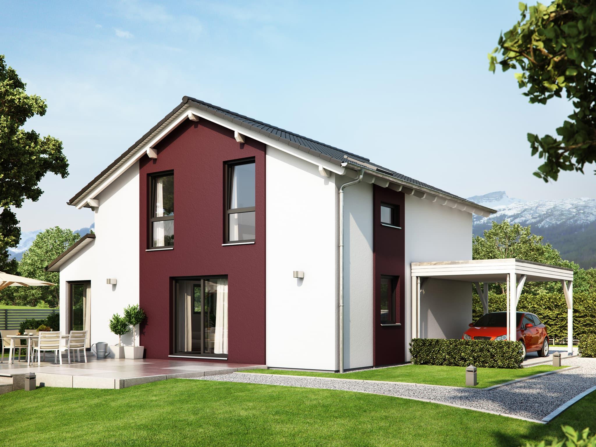 Fertighaus mit Satteldach & Carport, 5 Zimmer, 125 qm - Einfamilienhaus Living Haus SUNSHINE 126 V4 - HausbauDirekt.de