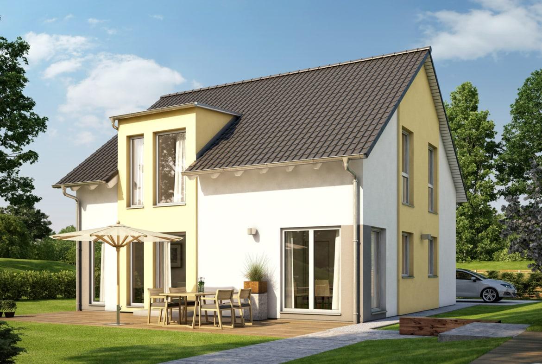 Fertighaus mit Satteldach & Zwerchgiebel, 5 Zimmer, 150 qm - Einfamilienhaus Living Haus SUNSHINE 151 V3 - HausbauDirekt.de