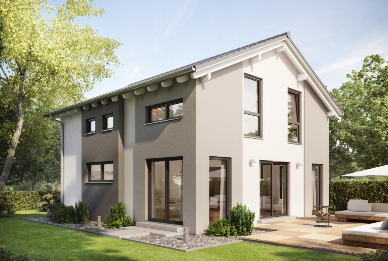 Fertighaus mit flachem Satteldach & Putz Fassade, 5 Zimmer, 135 qm - Haus bauen Ideen Einfamilienhaus Living Haus SUNSHINE 136 V4 - HausbauDirekt.de