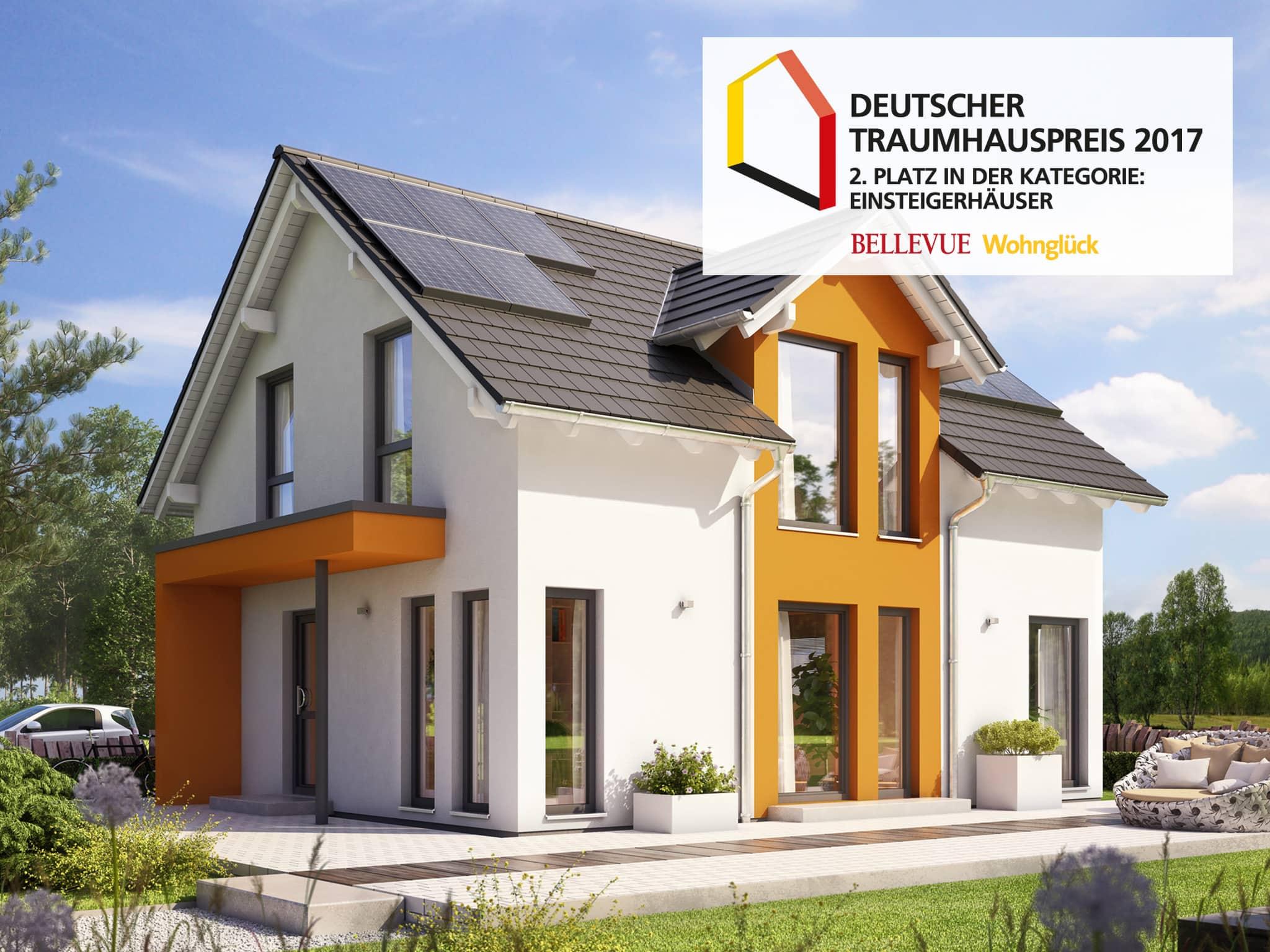 Fertighaus mit Satteldach Architektur & Zwerchgiebel - Haus bauen Ideen Einfamilienhaus SUNSHINE 125 V3 von Living Haus - HausbauDirekt.de